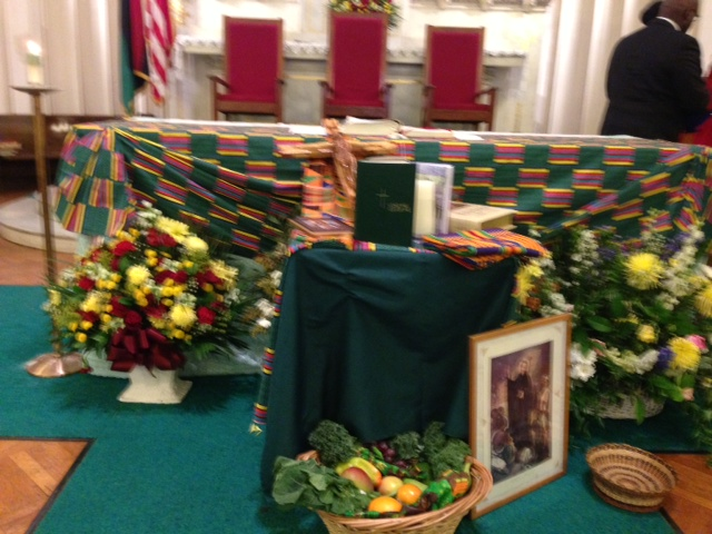 Gifts brought to the alter representing the aspects of the Black community of Boston.
