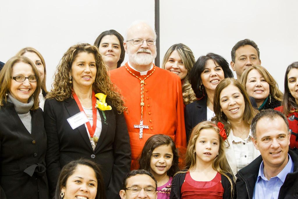 Cardinal Sean, Mrs. Sonette Kammer and friends, St. Tarcisius Parish Framingham, Brazilian Apostolate