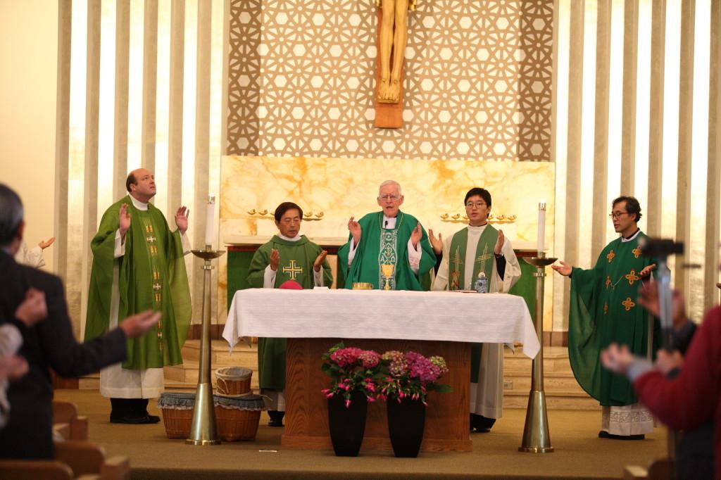 Bishop McNaughton celebrating Mass with Korean Community of Boston