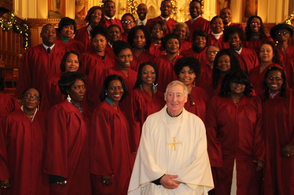 Fr. Bill Joy, Pastor of St. Matthew in Dorchester with the Choir