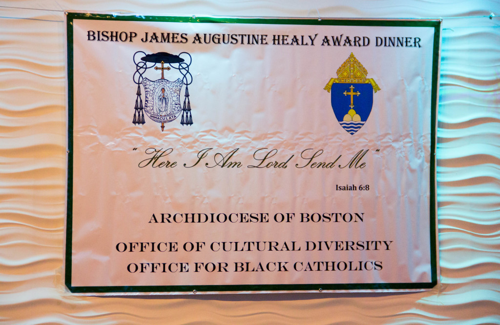 Beulah Providence and Sister Margaret A. Leonard, LSA received recognition for their work on behalf of the Black Catholic Community of the Archdiocese of Boston during the 22nd annual Bishop James Augustine Healy Award Dinner, held Nov. 21 at Lombardo's in Randolph. Pilot photo/ Mark Labbe